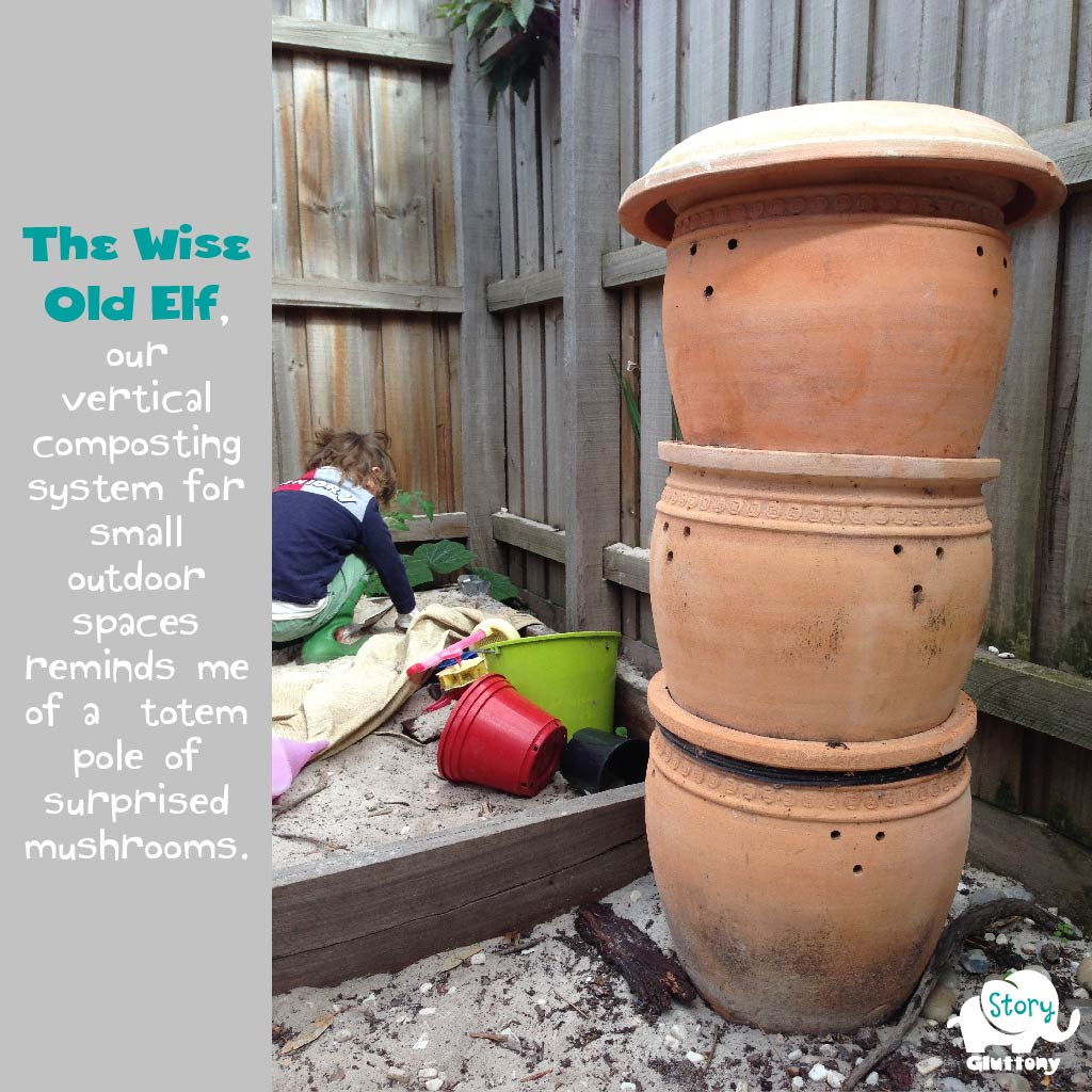 Vertical composting system for small outdoor spaces.