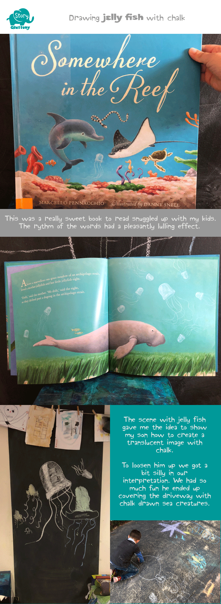 Drawing translucent jelly fish with chalk