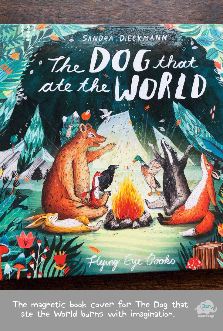 The magnetic book cover for The Dog that ate the World burns with imagination.